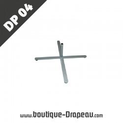 <h2>DP04Pied croisillons 42x48</h2> <p>Modèle de pied en croisillons. <br /> Utilisable avec drapeaux et beachflags de petites tailles.<br /> Offre une utilisation facile et adaptée à des surfaces planes.</p>
